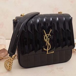 Replica Saint Laurent Medium Vicky Chain Bag Patent Leather 532612 Black