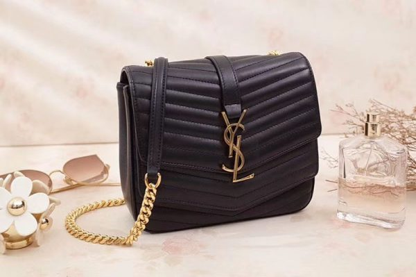 Replica Saint Laurent Small Soft Sulpice Chain Bag in Quilted Black Leather 532662