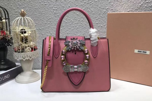 Replica Miu Miu 5BA043 Calfskin Leather Top Handle Bags Pink