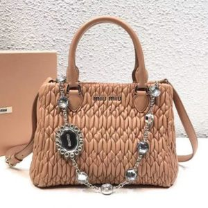 Replica Miu Miu Cloquet Nappa Leather Tote Bag 5BA067 Apricot