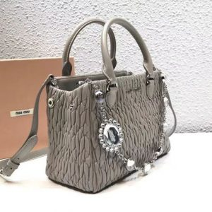 Replica Miu Miu Cloquet Nappa Leather Tote Bag 5BA067 Gray