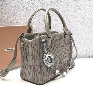 Replica Miu Miu Cloquet Nappa Leather Tote Bag 5BA067 Gray