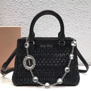 Replica Miu Miu Cloquet Nappa Leather Tote Bag 5BA067 Black