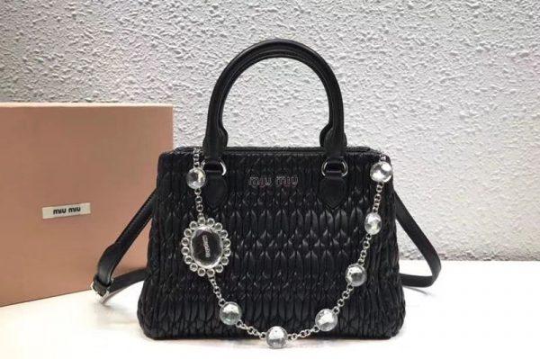 Replica Miu Miu Cloquet Nappa Leather Tote Bag 5BA067 Black