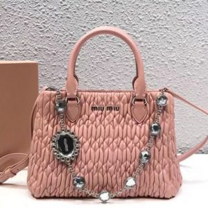 Replica Miu Miu Cloquet Nappa Leather Tote Bag 5BA067 Light Pink