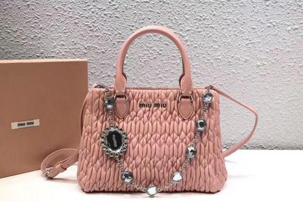 Replica Miu Miu Cloquet Nappa Leather Tote Bag 5BA067 Light Pink