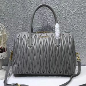 Replica Miu Miu 5BB033 Matelassse Nappa Leather Top Handle Bags Gray