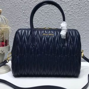 Replica Miu Miu 5BB033 Matelassse Nappa Leather Top Handle Bags Blue