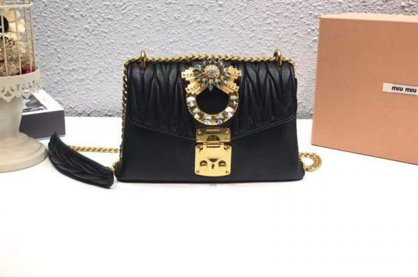 Replica Miu Miu Matelasse Nappa Leather Tote Bag 5BD103 Black