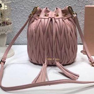 Replica Miu Miu Matelasse Nappa Leather Bucket Bag 5BE014 Pink