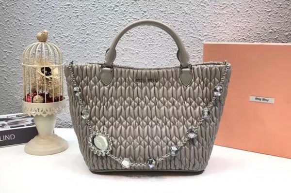 Replica Miu Miu Cloque Matelasse Nappa Leather Tote Bag 5BE896 Gray