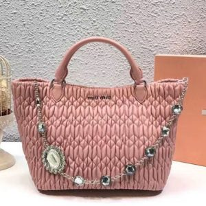 Replica Miu Miu Cloque Matelasse Nappa Leather Tote Bag 5BE896 Light Pink