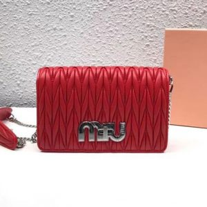 Replica Miu Miu Matelasse Nappa Leather Tote Bag 5BF069 Red