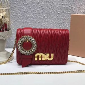 Replica Miu Miu Matelasse Nappa Leather Tote Bag 5BF068 Red