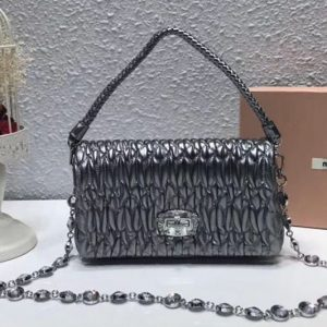 Replica Miu Miu Matelasse Nappa Leather Tote Bag 5BH012 Silver