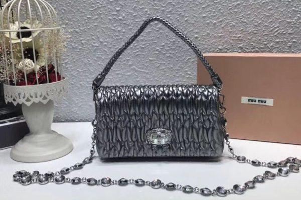 Replica Miu Miu Matelasse Nappa Leather Tote Bag 5BH012 Silver