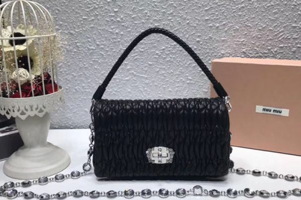Replica Miu Miu Matelasse Nappa Leather Tote Bag 5BH012 Black