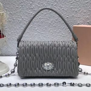 Replica Miu Miu Matelasse Nappa Leather Tote Bag 5BH012 Gray