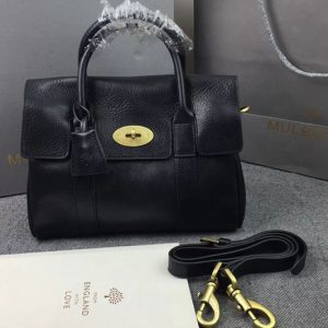 Replica Mulberry Bayswater 27cm Natural Leather Bags Black