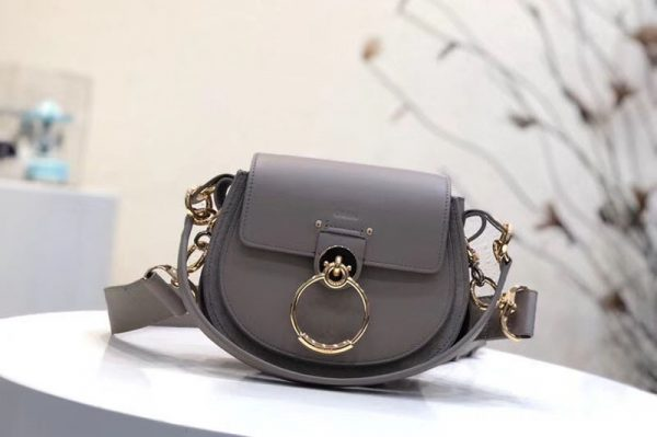 Replica Chloe Tess Small Leather Shoulder Bags Gray