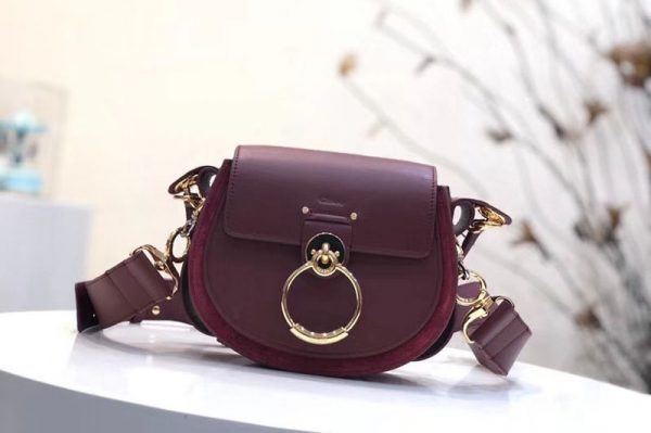 Replica Chloe Tess Small Leather Shoulder Bags Wine