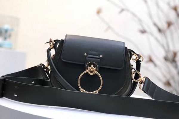 Replica Chloe Tess Small Leather Shoulder Bags Black