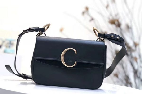 Replica Chloe C Clutch With chain in shiny & suede calfskin 1372 Black