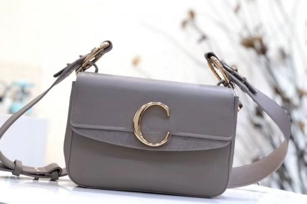 Replica Chloe C Clutch With chain in shiny & suede calfskin 1372 Gray
