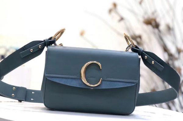 Replica Chloe C Clutch With chain in shiny & suede calfskin 1372 Blue