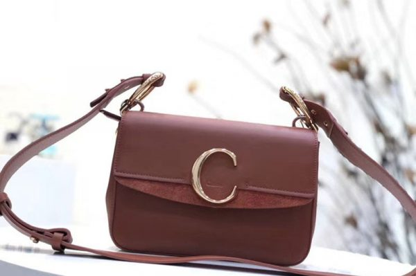 Replica Chloe C Clutch With chain in shiny & suede calfskin 1372 Brown