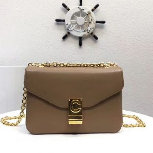 Replica Celine Classic Box Shoulder Bag Calf Leather 8013 Khaki