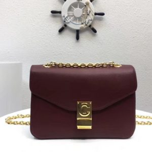 Replica Celine Classic Box Shoulder Bag Calf Leather 8013 Wine