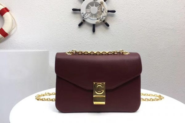 Replica Celine Classic Box Shoulder Bag Calf Leather 8013 Wine