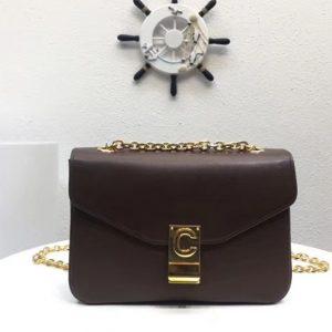 Replica Celine Classic Box Shoulder Bag Calf Leather 8013 Brown