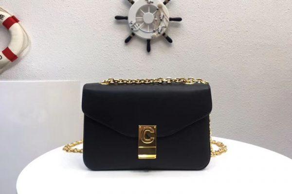 Replica Celine Classic Box Shoulder Bag Calf Leather 8013 Black