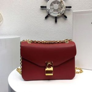 Replica Celine Classic Box Shoulder Bag Calf Leather 8013 Red