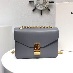 Replica Celine Classic Box Shoulder Bag Calf Leather 8013 Gray