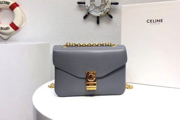 Replica Celine Classic Box Shoulder Bag Calf Leather 8013 Gray