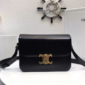 Replica Celine Medium Triomphe Bags Black Shiny Calfskin