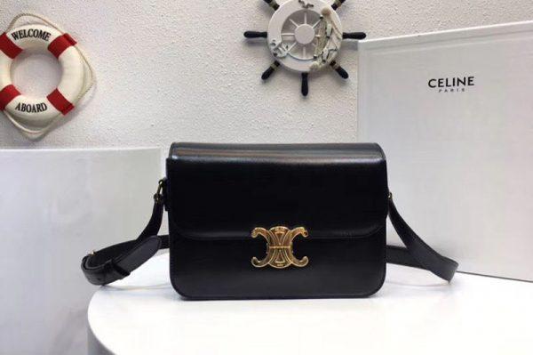 Replica Celine Medium Triomphe Bags Black Shiny Calfskin