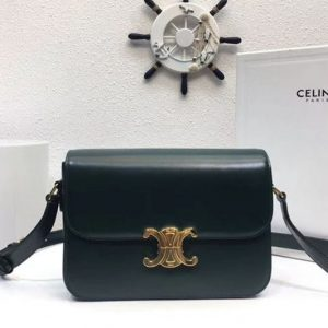 Replica Celine Medium Triomphe Bags Green Shiny Calfskin