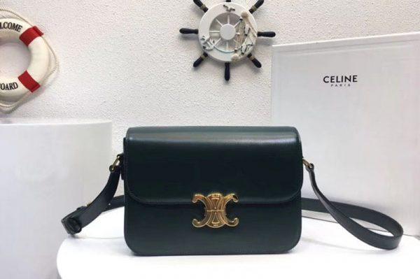 Replica Celine Medium Triomphe Bags Green Shiny Calfskin