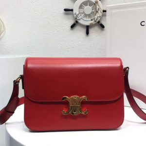 Replica Celine Medium Triomphe Bags Red Shiny Calfskin