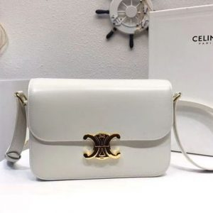 Replica Celine Medium Triomphe Bags White Shiny Calfskin
