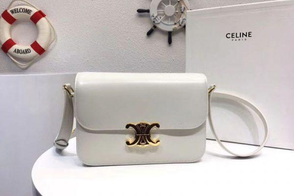 Replica Celine Medium Triomphe Bags White Shiny Calfskin