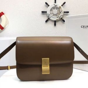 Replica Celine Classic Box Small Flap Bag Calf Leather Brown