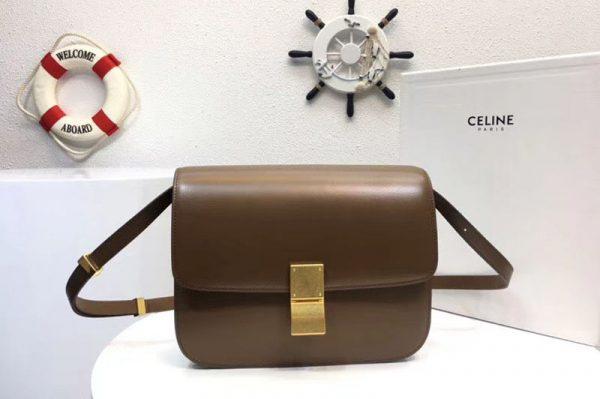 Replica Celine Classic Box Small Flap Bag Calf Leather Brown