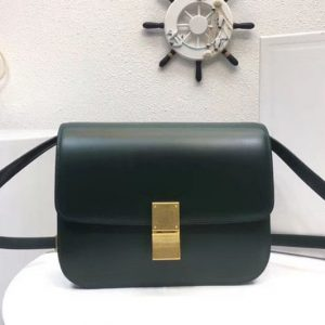 Replica Celine Classic Box Small Flap Bag Calf Leather Green