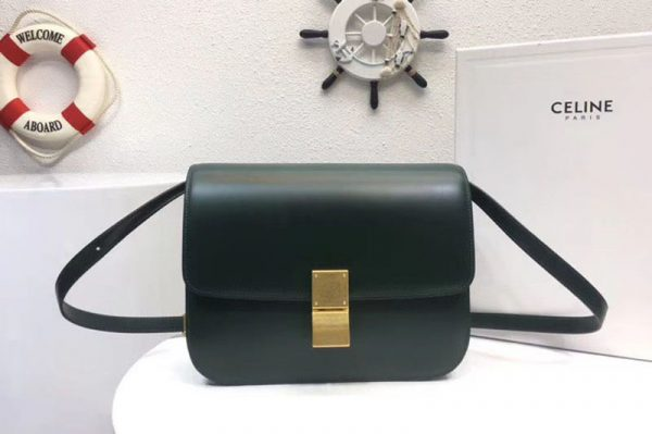 Replica Celine Classic Box Small Flap Bag Calf Leather Green