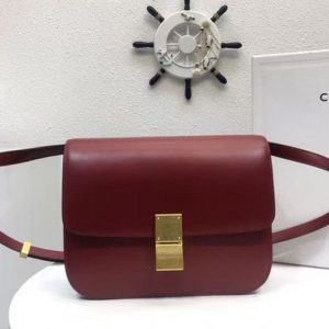 Replica Celine Classic Box Small Flap Bag Calf Leather Wine